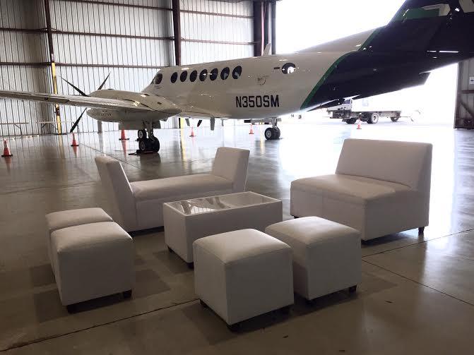 white lounge area private event