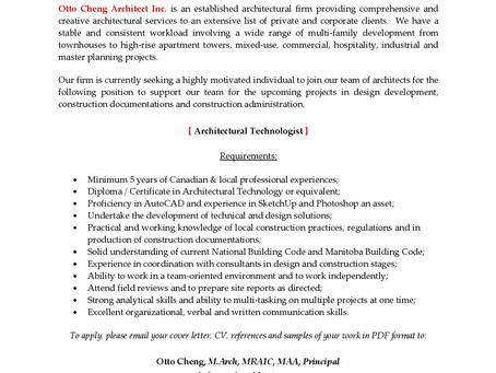 Otto Cheng Architect Inc. - Job Opportunity