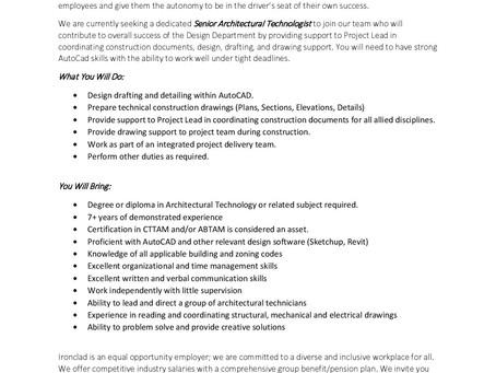Ironclad Developments Inc. - Senior Architectural Technologist position
