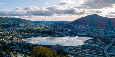 Droneview over Bergen