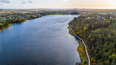 Drone picture over Glengshølvatnet in Sarpsborg