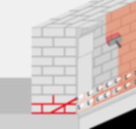 Mauerzeichnung, Nachträgliche Horizontalsperre, Mauerinjektion, Bitumenbeschichtung, Außenputz