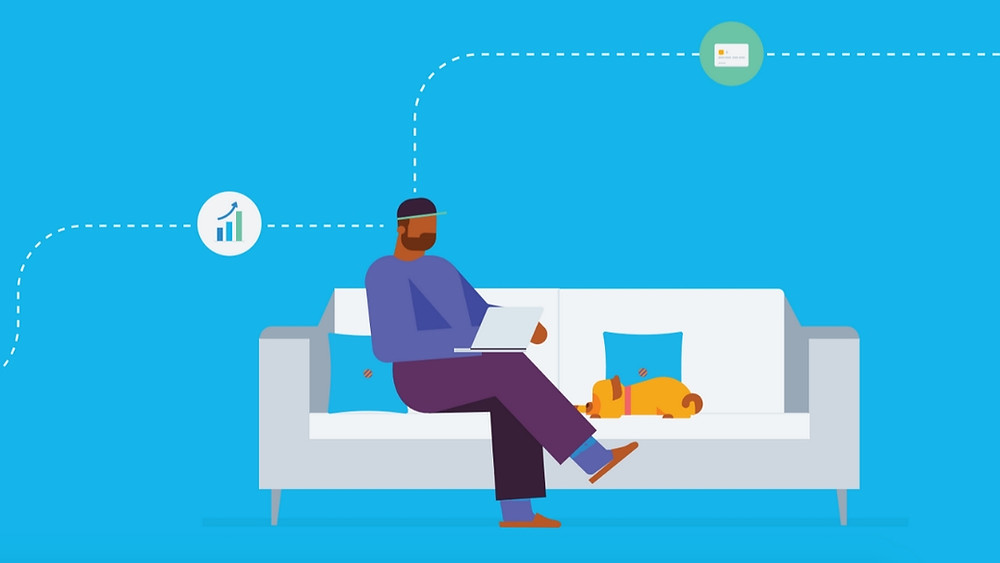 Graphic of a man sitting on a couch with a dog while on a laptop.