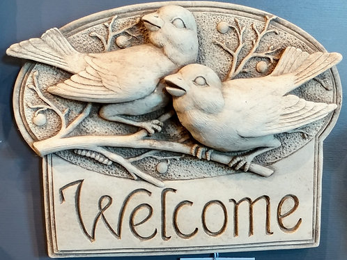 """BERRYBIRDS WELCOME"" PLAQUE BY CARRUTH STUDIO"