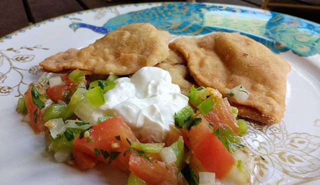 Savory Beef Fried Dumplings & Kefir Cheese
