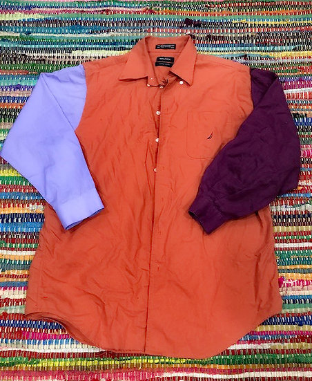 3 Peat in Orange and Purple Shades x Button Up