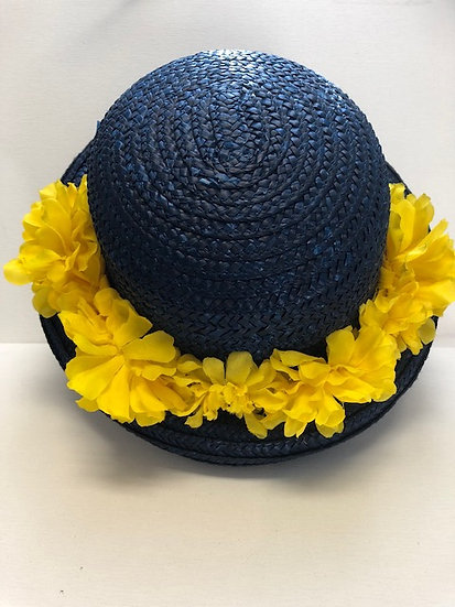 Flower Fedora in Navy and Yellow