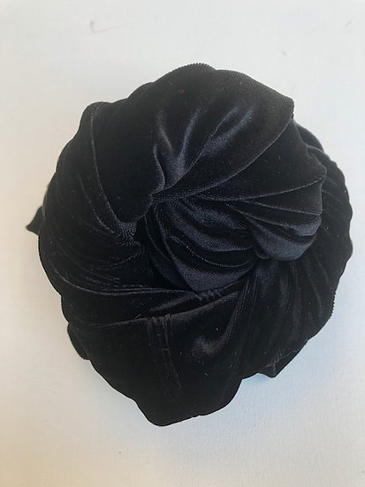 Instant Turban in Black Velvet
