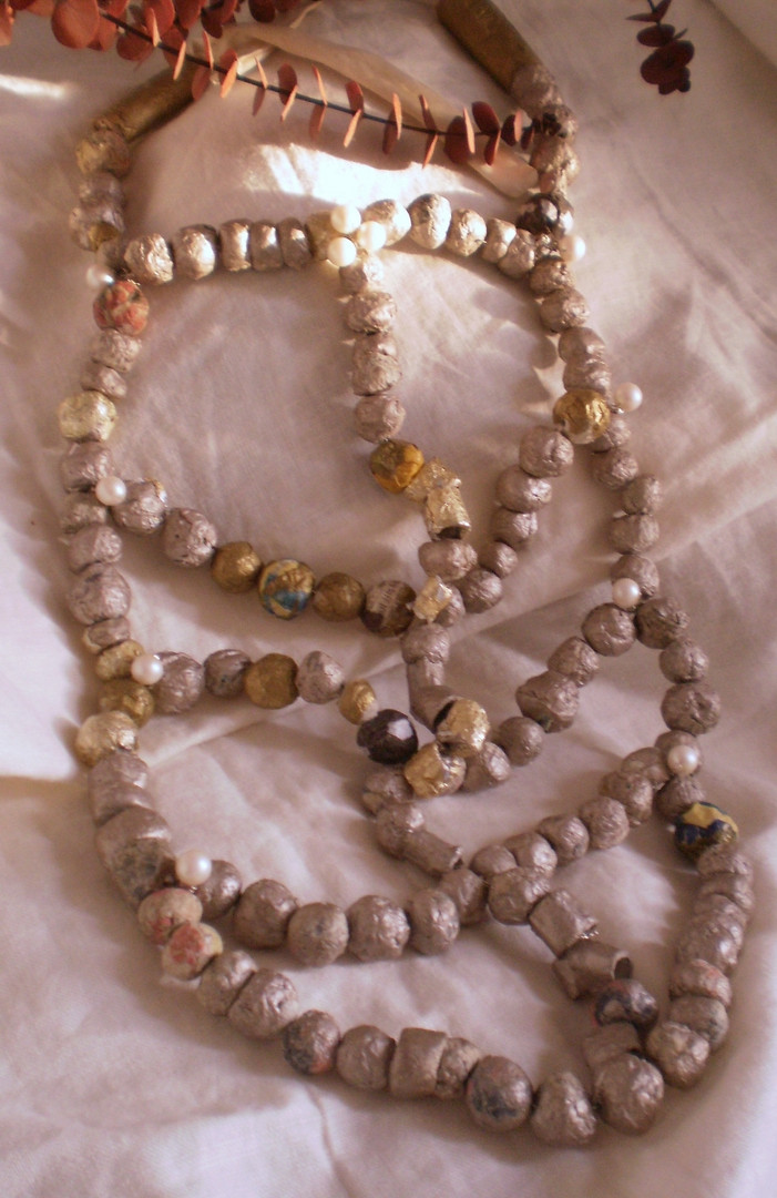Ceremonial Necklace of Paper & Vintage Cultured Pearls