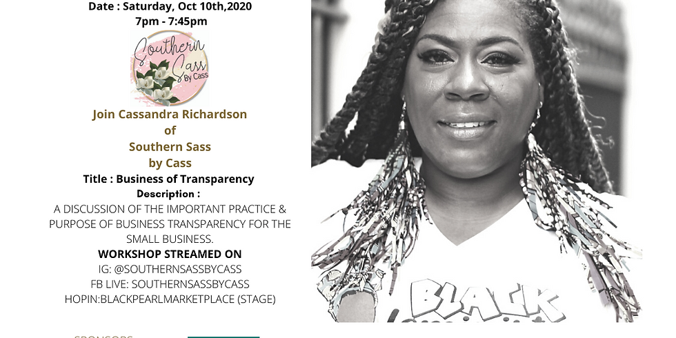 Black Pearl MarketPlace Speaker Series with Speaker, Cassandra Richardson