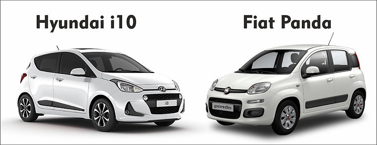 Brand new Hyundai i10 (model of 2019).Fiat Panda model of 2019, 1200 cc, unlimited kilometers,free baby seat,unlimited kilometers