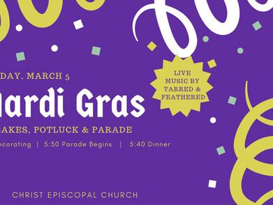 Mardi Gras Potluck, Pancakes & Parade!