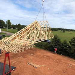 Up goes another one! _#trusses #prebuilt