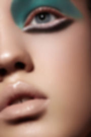 Model with dewy makeup