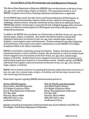 Annual Notice of Non-Discrimination and Anti-Harrassment Statement