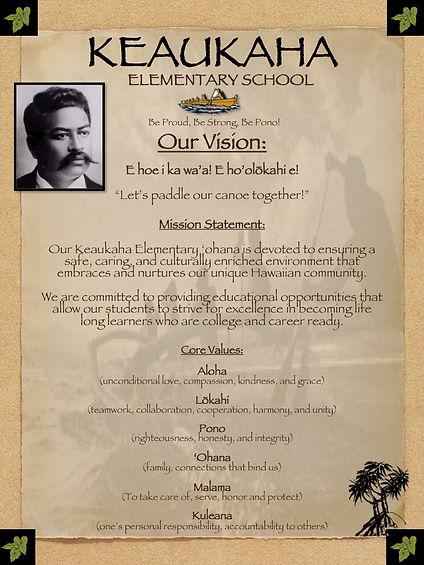 Keaukaha Vision, Mission and Core Values