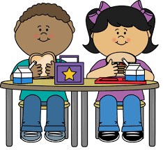 Clipart of two students eating