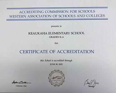 Keaukaha Elementary Certificate of Accreditation