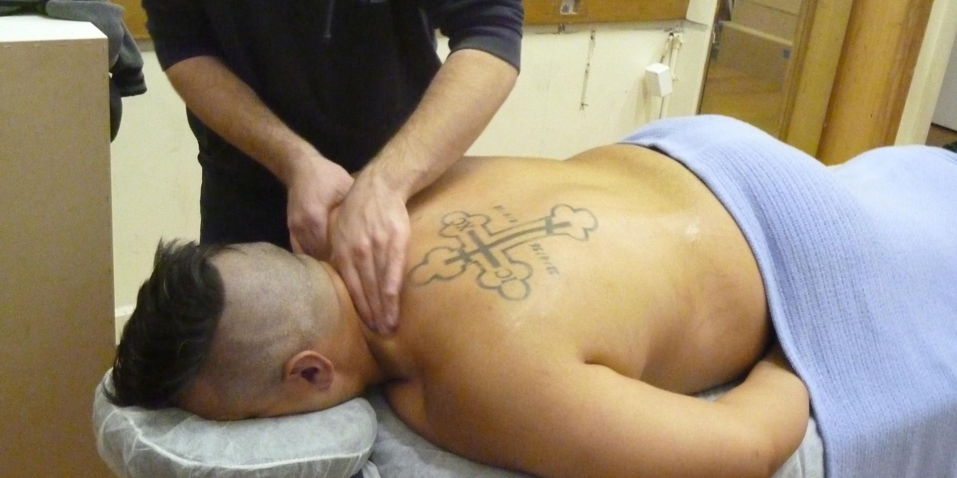 Massaging at Melbourne City Wrestling: Gino Gamino (Mr. Juicy)