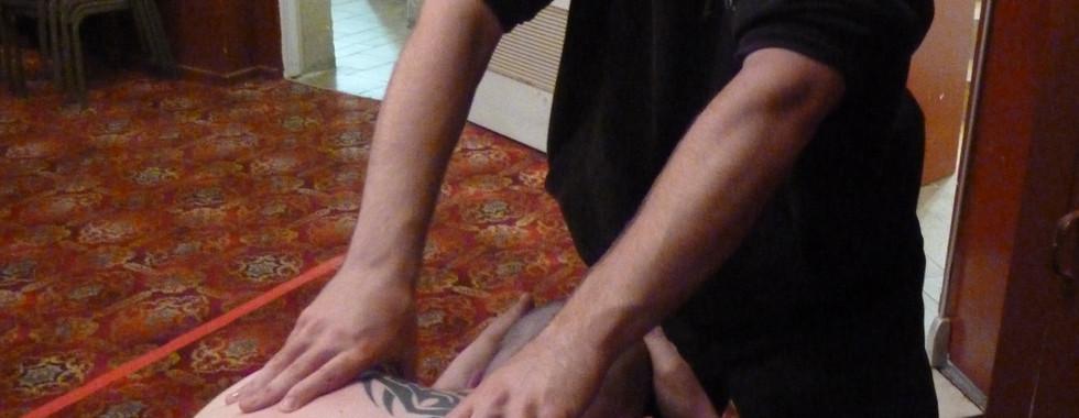 Massaging at Melbourne City Wrestling: Mike Burr