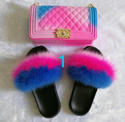 Mixed Fur Slides with bag (SET)