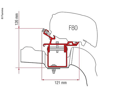 Adapter Fiamma F65/F80 für VW Crafter ab 2017, L3/H3, ohne Roof Rail