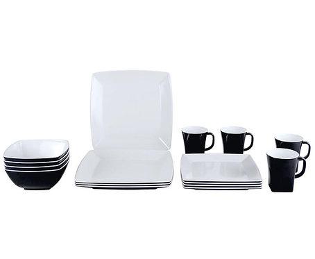 Melamin Geschirr-Set QUADRATO, schwarz-weiß, 100% Melamin