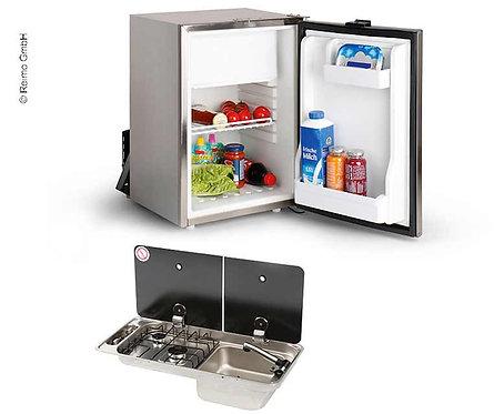 Campingbus-Ausbauset 40 K - Kocher-Spülen-Kombination & Einbaukühlschrank