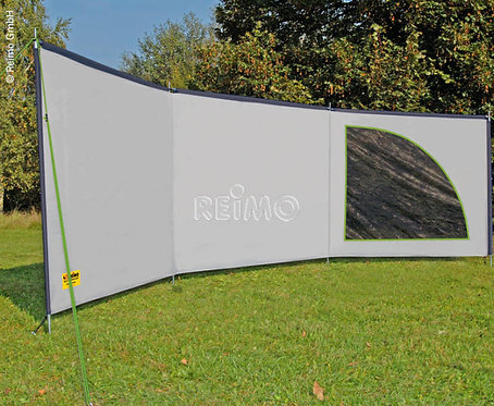 Ameland Space Luxus-Windschutz in Grau/Lime, 6m x 1,4m