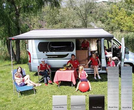 Fiamma F65S Dachmarkise 2,9m  Royal Blue,Gehäuse schwarz für Vans und Wohnmobile