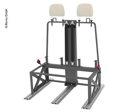 3-Punkt Gurtbock 900mm, Stahl, mit verstellbarer Rückenlehne in 3 Positionen