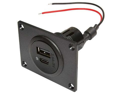 Power USB-C/A Doppelsteckdose mit Montageplatte, 12-24V DC, schwarz