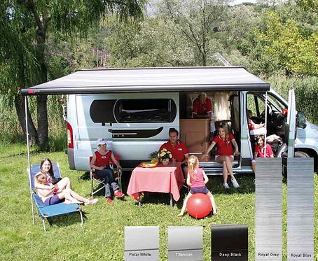 Fiamma F65S Dachmarkise 2,9m  Royal Blue,Gehäuse silber für Vans und Wohnmobile