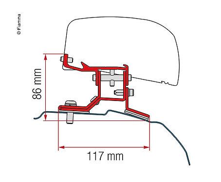 Adapter Kit für F40van Ford Custom L1 ab 2012,Black 2Halter