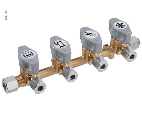 4-fach-Schnellschluss-Absperrventil für 10mm Eingang & 8mm Abgängen