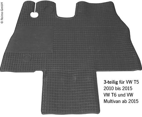 Gummimatten für Fahrerhaus VW T5 (2010-2015), VW T6 >2015, VW Multivan >2015