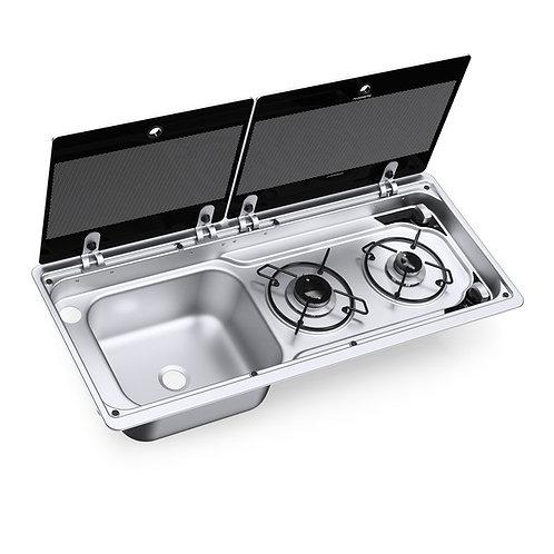 Kocher-Spülen-Kombination mit 2-teiliger Glasabdeckung