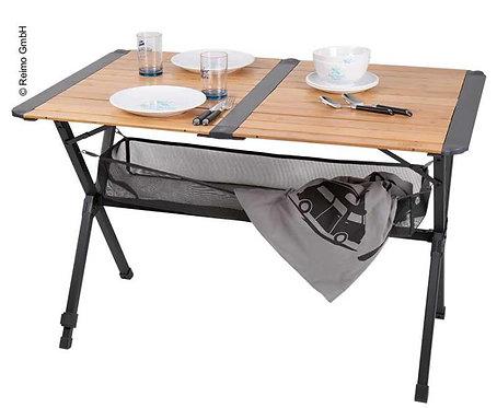 Bambus-Tisch mit Netz, Rolltisch, dunkles Aluminiumgestell