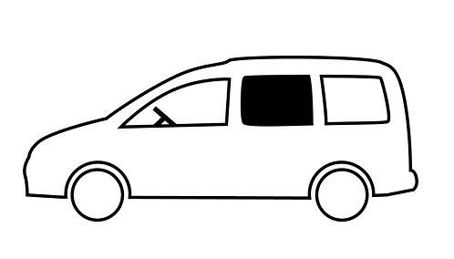 Fenster VW Caddy Maxi vorne links, kR, 714x538 mm, starr