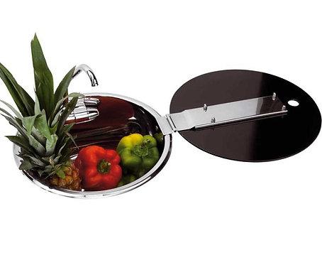 Edelstahlspüle mit Wasserhahn und Glasabdeckung, Ø 30cm