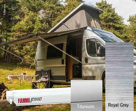 Fiamma F80S Dachmarkise 3,7m, Royal Grey,Gehäuse silber für Vans und Wohnmobi