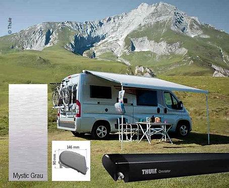 Markisen-Set 6300 4m Mystic Grau, Gehäuse anthrazit, Kappen: schwarz