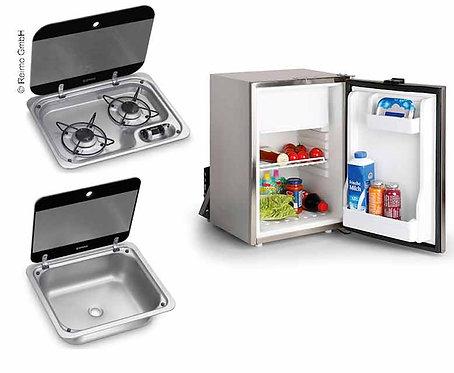 Kombi Campingbus-Set 40 E - Kocher, Spüle und Einbaukühlschrank