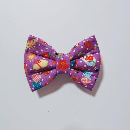 Purple Japanese Motif Bow Tie