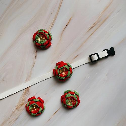 Christmas Flower Kanzashi Collar Charm