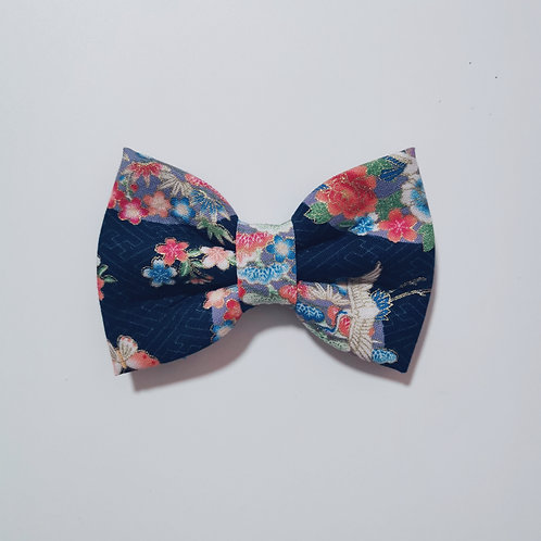 Navy Flower Circle Bow Tie