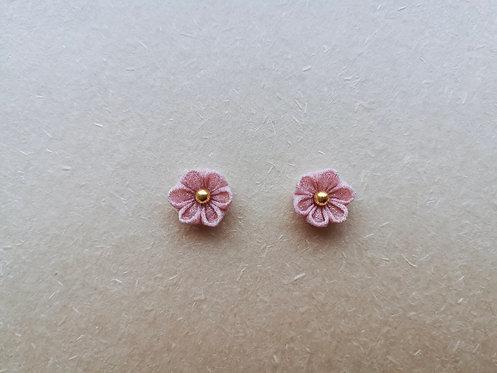 Pink Kanzashi Flower Earring
