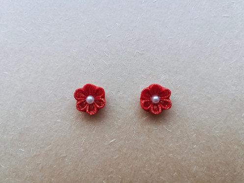 Red Kanzashi Flower Earring