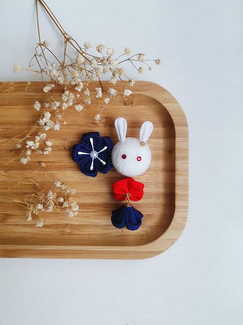 Navy and Red Kanzashi Bunny and Bunny Charm