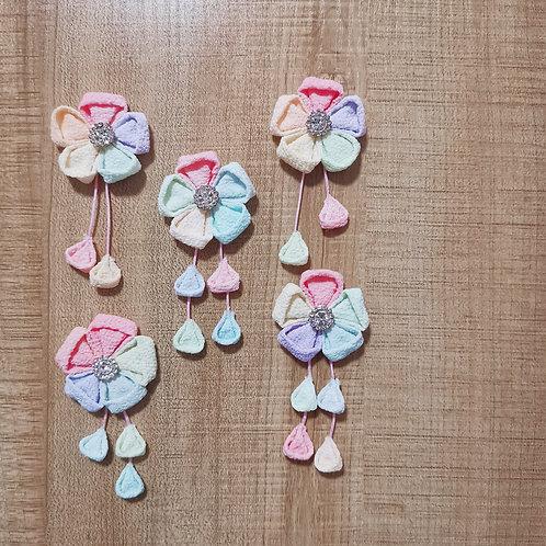 Nijihana (Rainbow Kanzashi Flower) with Tassel Clip/Charm